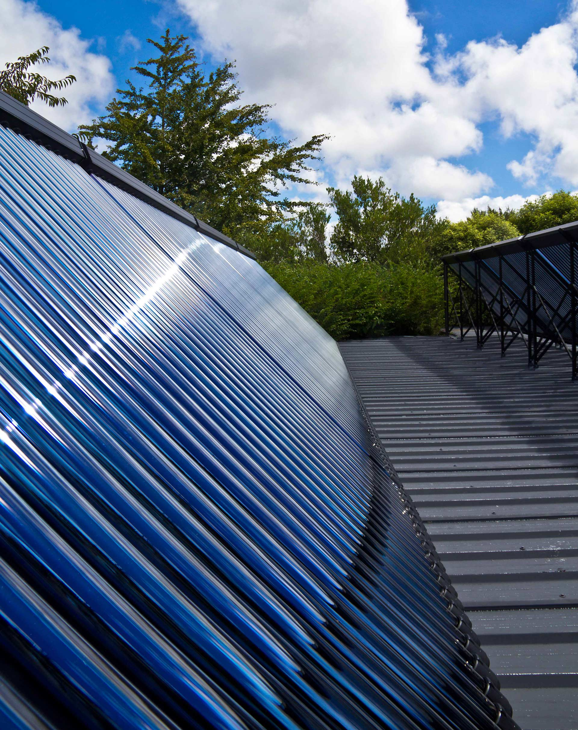 large solar thermal system on roof