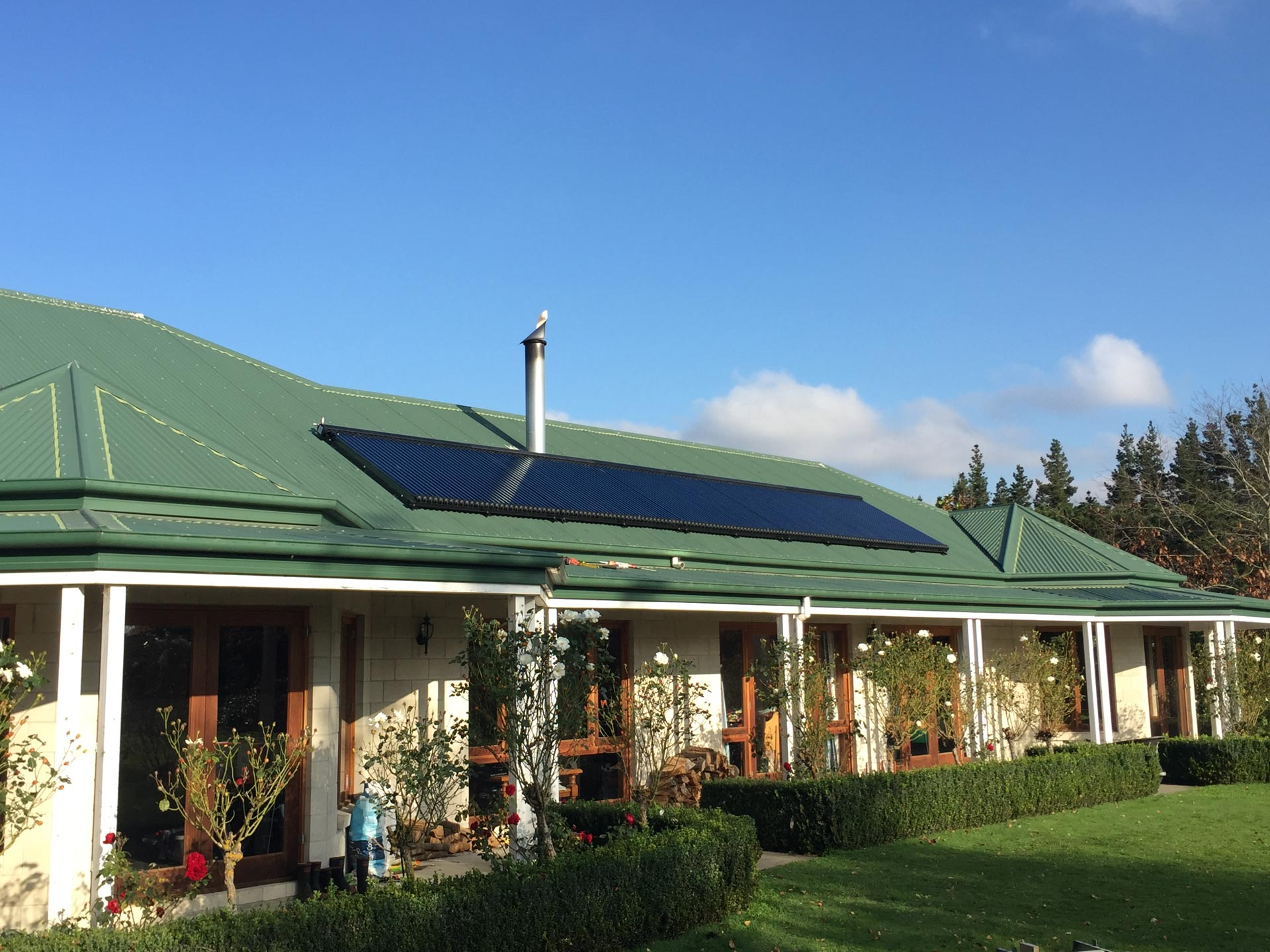 large solar system on a nice sunny home