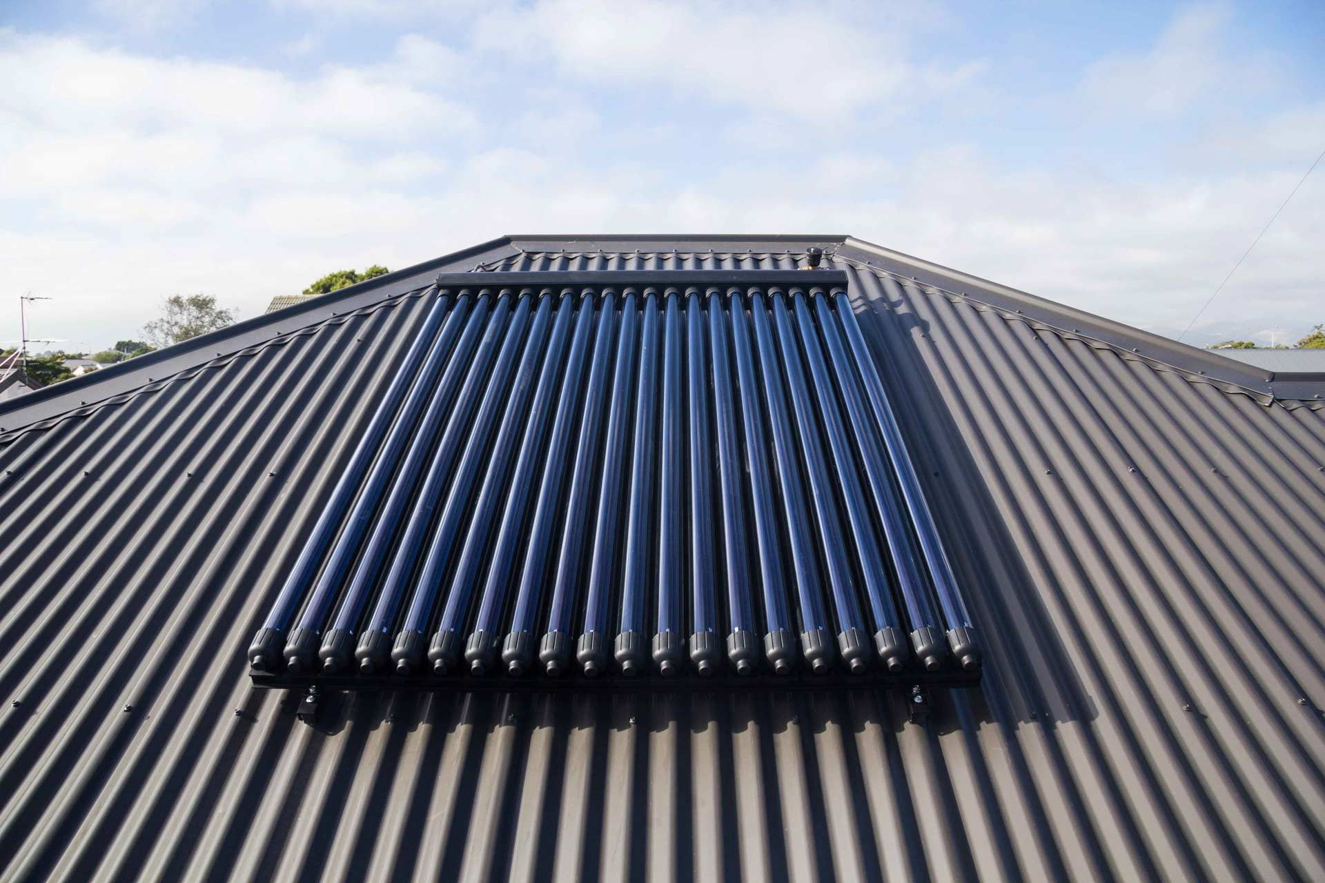 20 tube solar thermal system on roof