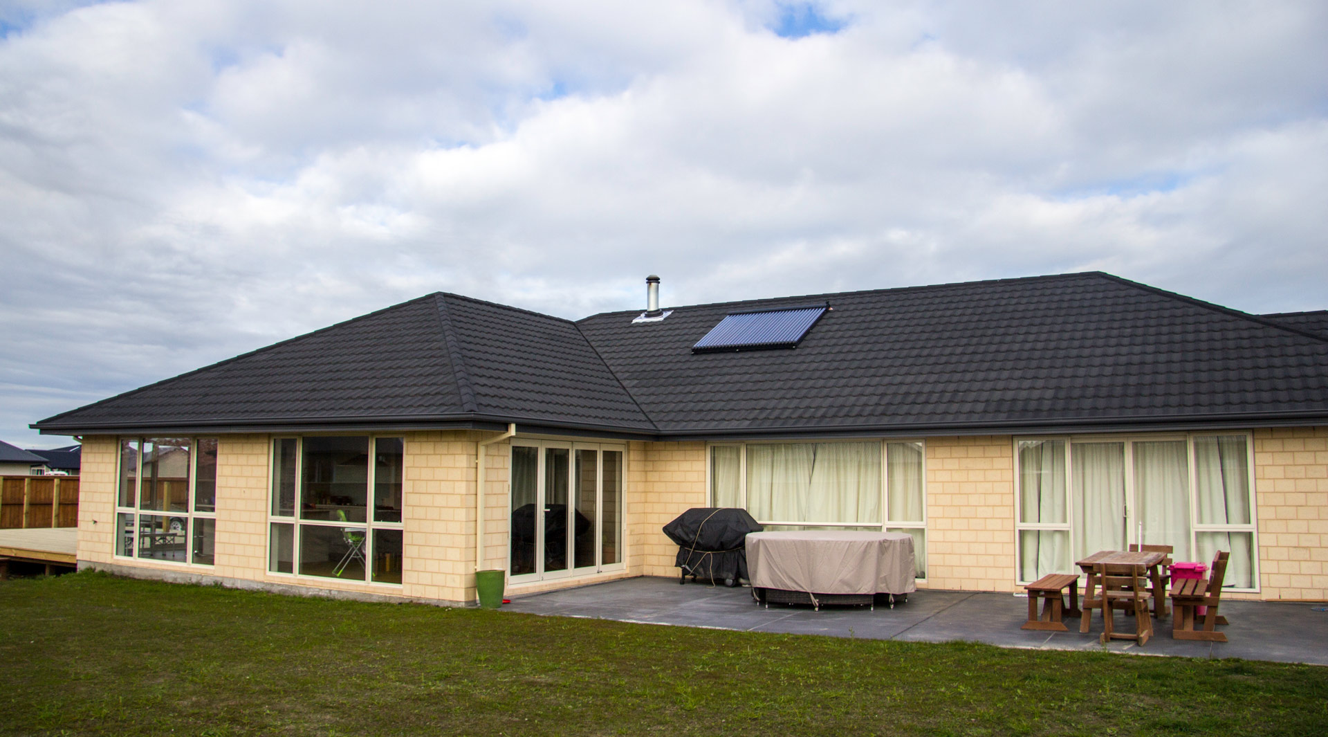 solar thermal on a new cream brick home