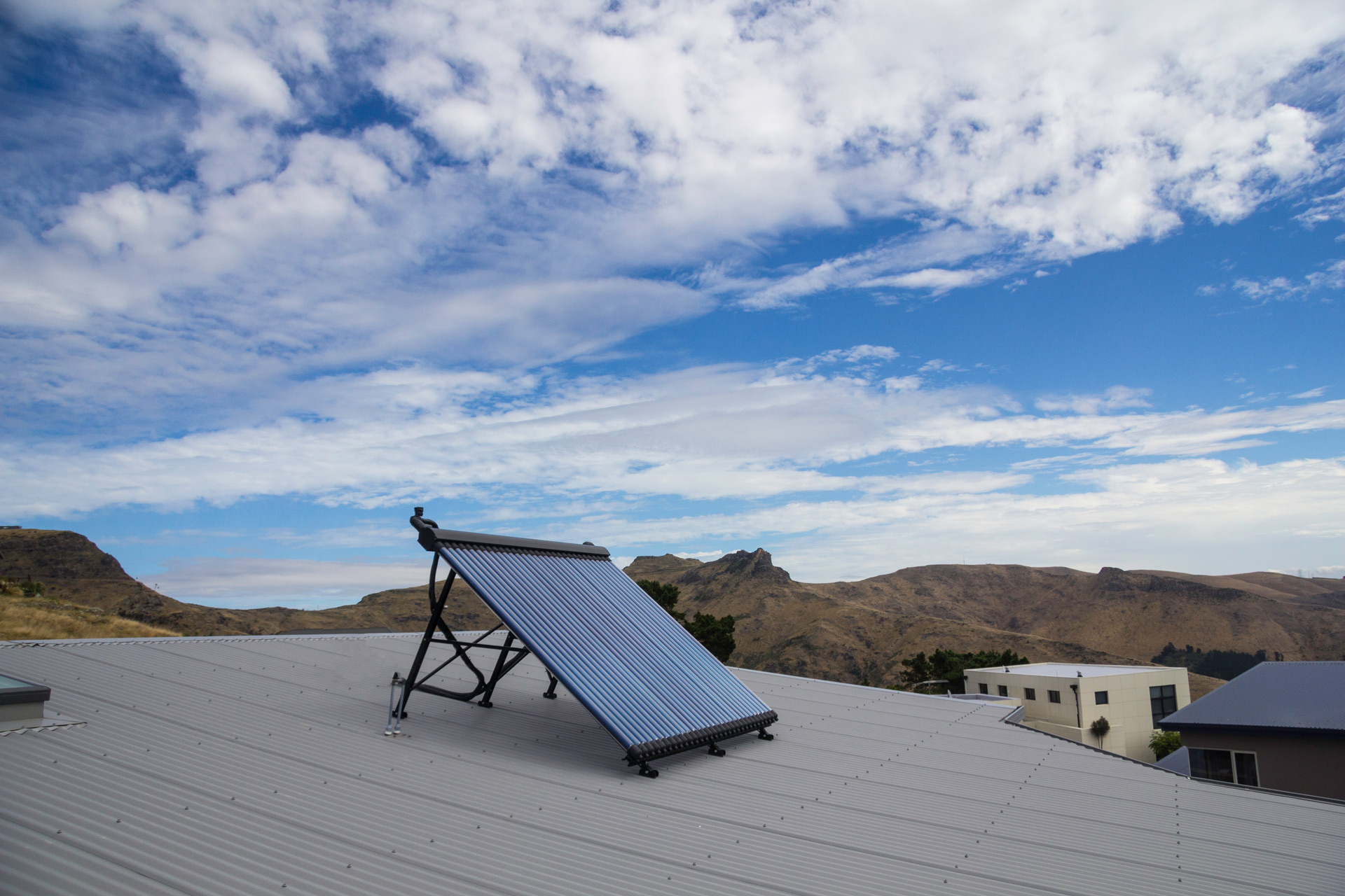 solar thermal on a hill top home
