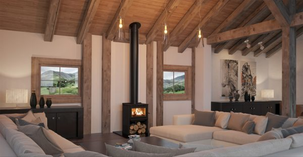 free standing fire place in living room