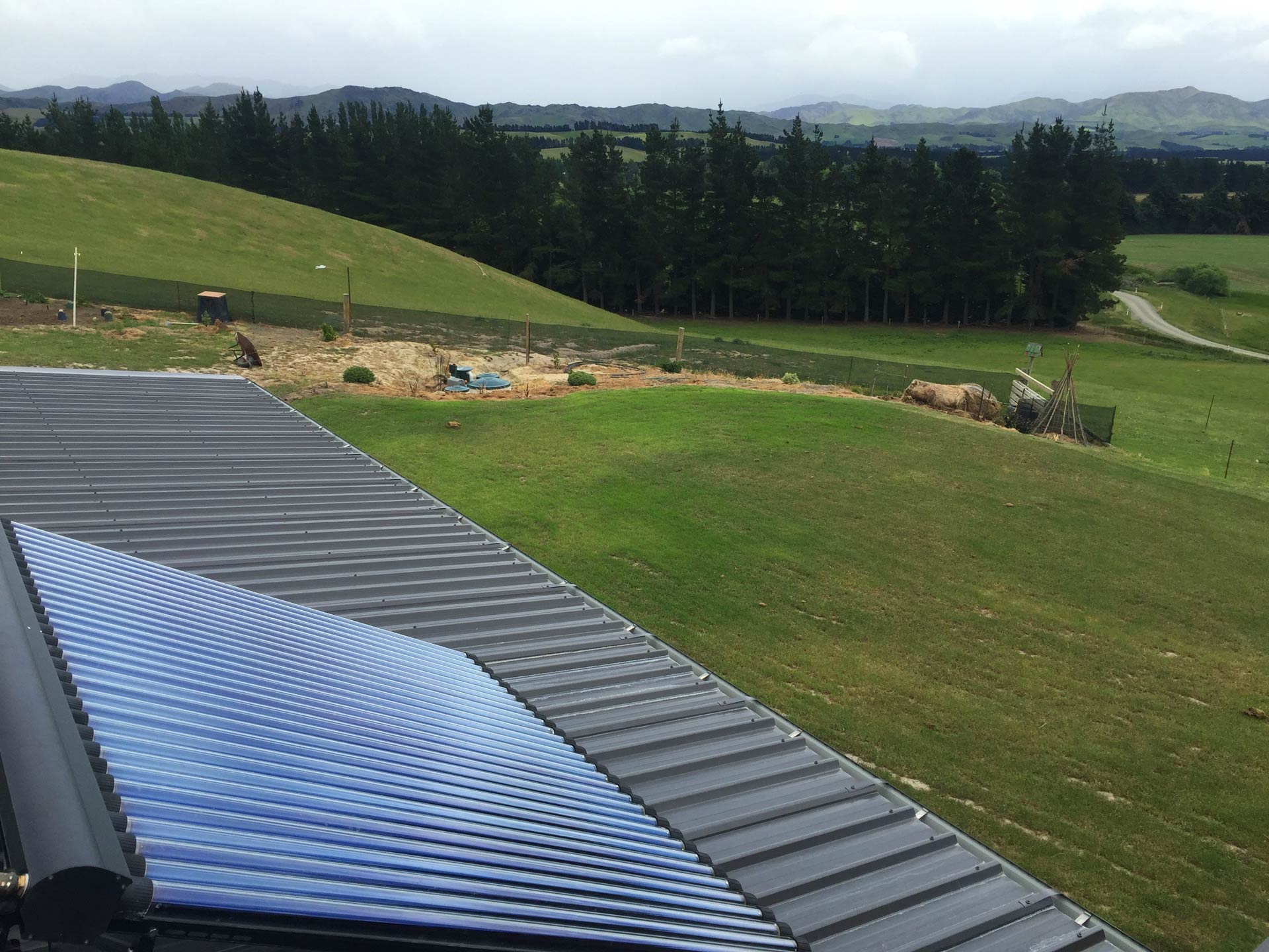 solar panel looking over Canterbury country side hills and fields